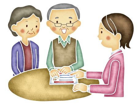 elderly couple: Elderly couple to a consultation of insurance