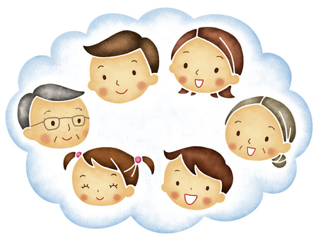 asian woman: The face of the family of six in the clouds