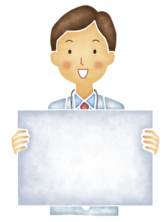 physician: Physician with board Stock Photo