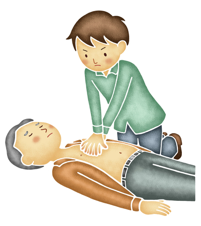 compressions: Men that the chest compressions to the elderly Stock Photo