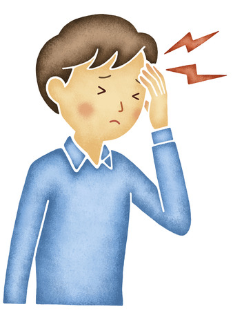 suffer: Men who suffer from headache Stock Photo