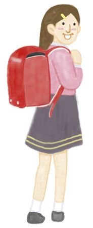 rear view girl: Elementary school student