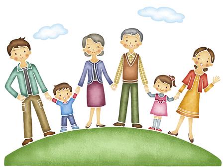 centered: Elderly couple centered Holding Hands family of six
