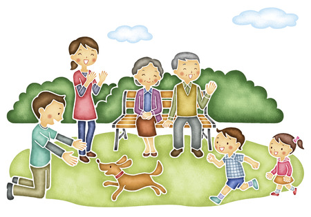Six family playing in the park