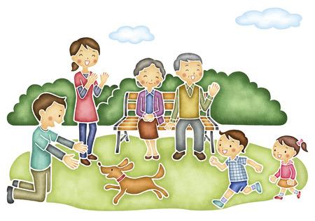 Zes familie spelen in het park Stockfoto