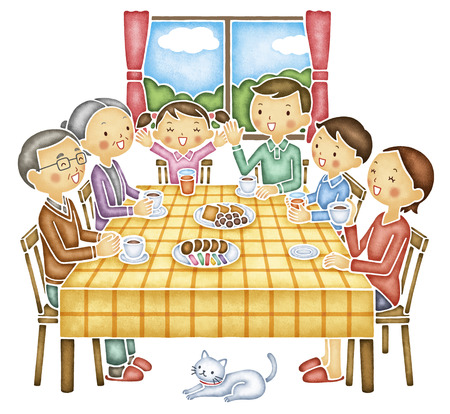 dining table and chairs: Family of six that the conversation at the table Stock Photo