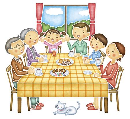 Gezin van zes dat het gesprek aan de tafel Stockfoto
