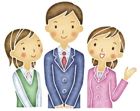 asian office lady: 1 person and OL2 people salaryman Stock Photo