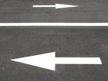 lane lines: Course sign of a motor vehicle was written on the road