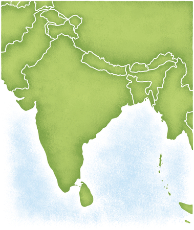 India and the map of its surroundings Stock Photo