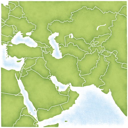 west asia: West Asia and the map of its surroundings Stock Photo