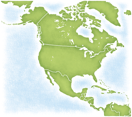 that: Map around the North American continent that