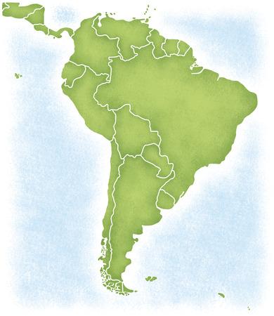América del Sur y el mapa de su entorno Foto de archivo - 49343639
