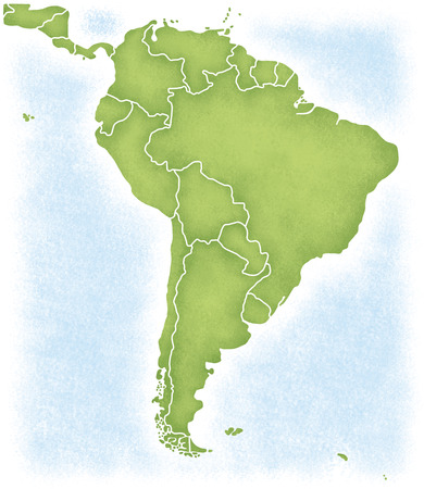 South America and the map of its surroundings Stock Photo