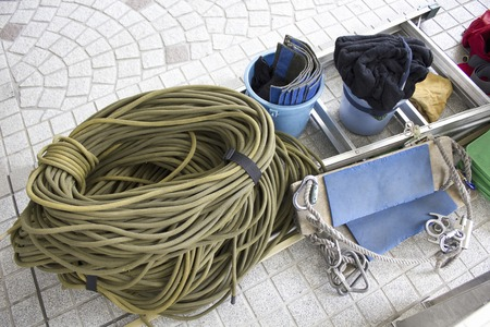 lifeline: Rope for window cleaning of the building