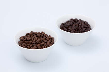 entered: Coffee beans that entered the white bowl