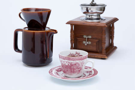 tableware life: Coffee mill and hot coffee and dripper