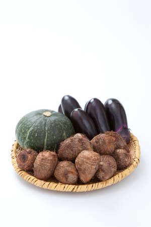 gustatory: Eggplant and taro and pumpkin Stock Photo