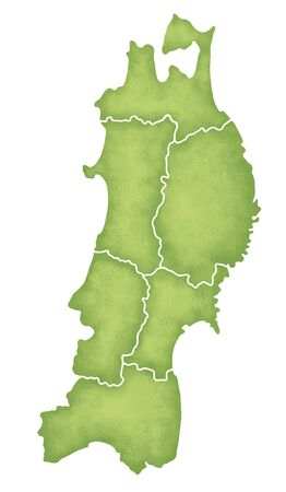 prefecture: Tohoku map Stock Photo