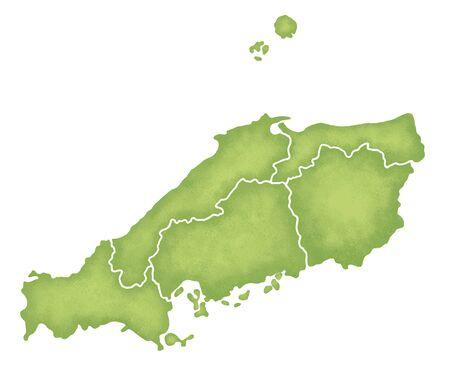 sanyo: Chugoku Map Stock Photo