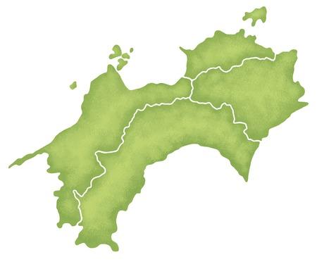 四国地図 写真素材