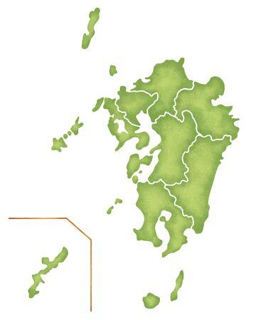 九州地図 写真素材
