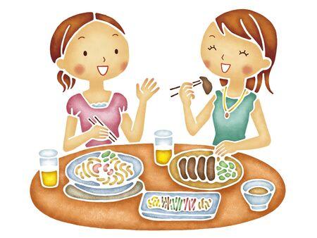 その食事の 2 人の女性
