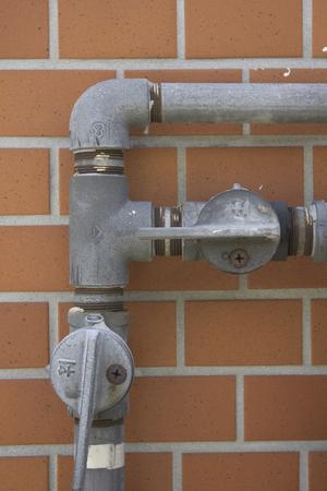 家庭用のガス管の元栓 写真素材