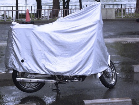 tarpaulin: Bike tarpaulin Stock Photo