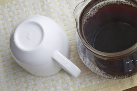 coffee pot: Coffee pot and coffee cup