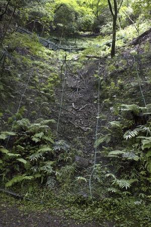 rockfall: Rockfall prevention nets mountainside Stock Photo