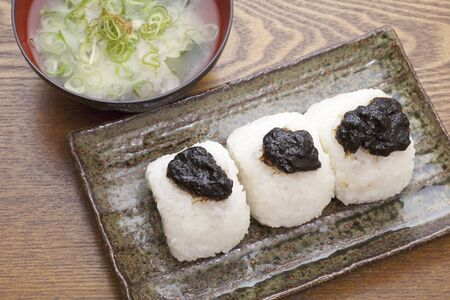 dry provisions: Rice balls and miso soup of boiled seaweed