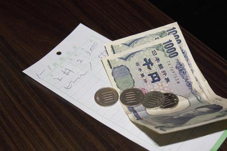 レストラン手形を支払うためのお金 写真素材