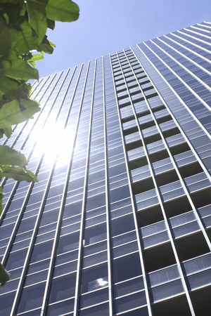 blue summer sky: The sun that reflects the high-rise building