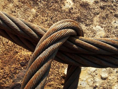 rusty wire: Rusty wire rope Stock Photo