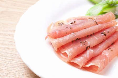 raw ham: Raw ham