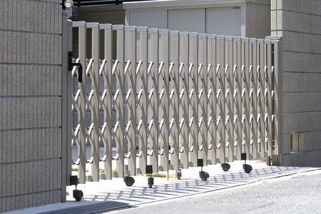 detached houses: Fence of detached houses garage Stock Photo