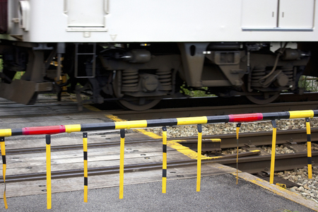 run way: Train crossings Stock Photo