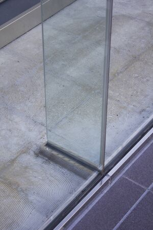 tempered: Tempered glass to reinforce the glass wall of the building Stock Photo