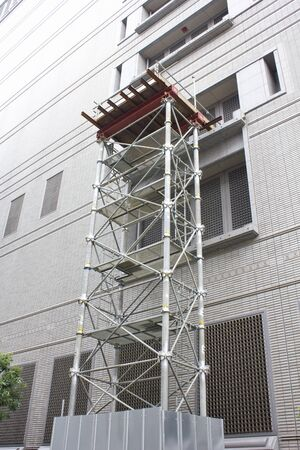 prefabricated buildings: Assembling scaffolding for building renovation