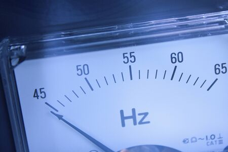 hz: Scale-up of the frequency meter Stock Photo