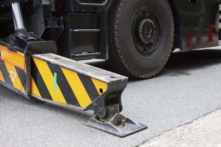 stability: Legs for balance of construction machinery stability Stock Photo