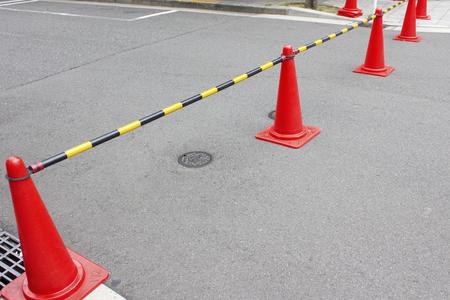 blockade: Road blockade pylon in road construction