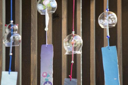 chimes: Glass wind chimes that were suspended in the eaves