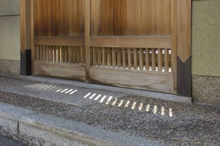 sliding door: Sliding door of the entrance of Japanese-style house Stock Photo