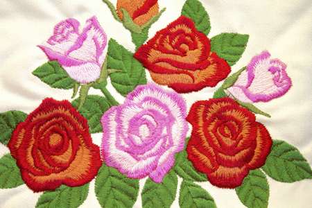homely: It rose flower embroidery Stock Photo