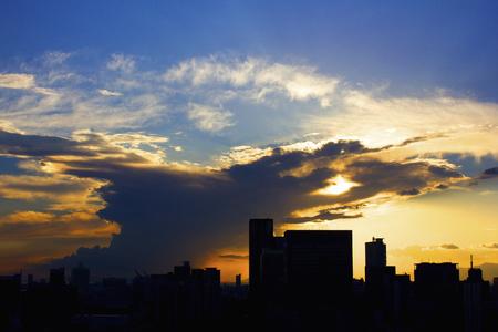 torrential: Dark clouds of evening of torrential rain