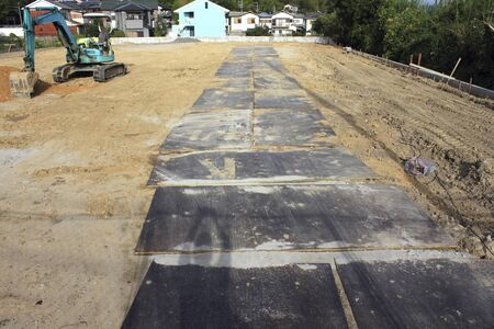 reinforcing: Reinforcing iron plate for the heavy equipment of residential development construction site