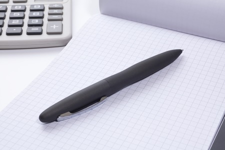 ballpoint: Business image of the notebook and ballpoint pen Stock Photo