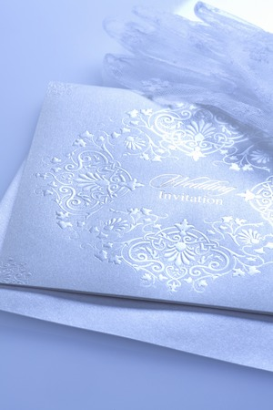 lace gloves: Lace wedding invitations with brides white gloves